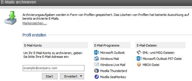 Grafik: MailStore Home - E-Mails importieren